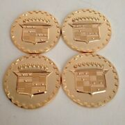 Cadillac Wire Wheel Chips Emblems Gold Metal Size 2.25andrdquo Zenith Style Set Of 4