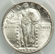 1924-d 25c Standing Liberty Pcgs Ms64. Cac