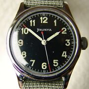 34mm Wwii Era Menand039s Helvetia Military Wristwatch Good Condition