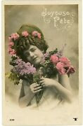 French Woman Holding Purple And Pink Flower Happy Birthday Greetings Postcard