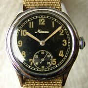 34mm Wwii Period Menand039s Minerva For German Force Military Wristwatch Good Conditi