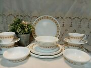 24-pc Vintage Corelle Butterfly Gold Dinnerware Set Plate Bowl Cup Saucer