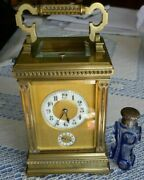 Antique French Striking Repeater Alarm Carriage Clock By Arsene Margaine