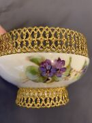 W.g. And Co. France Limoges Floral Bowl 4.25andrdquo Gold Metal Lace Filigree 1891 Rare