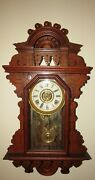 Antique R. And J. Clock Co The Belle Hanging Kitchen Wall Clock With Alarm Rare