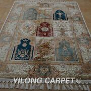 Yilong 4.6and039x6.6and039 Handknotted Silk Rug Four Season Durable Antistatic Carpet 1778