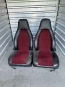 Porsche 911 930 Seats W/rails L R Pair Burgundy Black 74-83 Manual