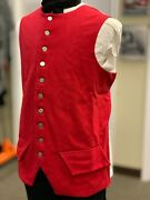 18th Century Waistcoat - 44 Chest Red Wool, Revolutionary War Colonial, New