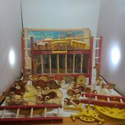 Vintage 1962 Wooden Fisher Price Circus Wagon Train, Animals, Ladders