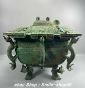 12.5 Antiquity Old Chinese Bronze Ware Dynasty Dragon Pot Crock Drinking Vessel