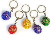 5 Ukrainian Hand Painted Wooden Easter Eggs Pysanky Key Chains 1 1/4 Inch