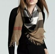 House Check Wool Square Scarf Wrap