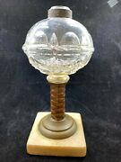 Antique 1860 Hand Blown Glass Oil Lamp Brass Copper Pattern Base Marble Foot