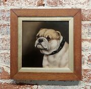 19th Century Portrait Of An English Bulldog - Oil Painting Oil Painting On Panel