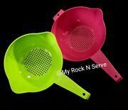 Tupperware 1,2 Qt Colander Strainer W/ Handle Green And Pink New