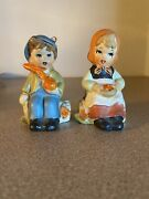 Vintage Ceramic Hummel Style Boy And Girl Salt And Pepper Shakers Made In Japan
