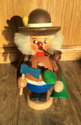 """Straco Gmbh Wooden Figure 5.25"""" Germany Woodsman Hat Pipe Christmas Tree Saw Ax"""