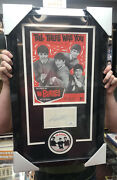 Rare Beatles Ringo Starr Signed Autograph Index Card New Frame W/photo Button