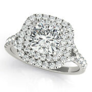 2ctw Natural Diamond And Moissanite Double Halo 14k White Gold Engagement Ring