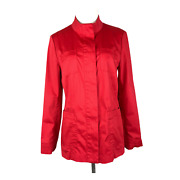 J. Jill Size Pm Bright Red Stretch Button Jacket Cotton Blend Minor Flaws