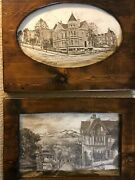 2 Vintage J A Kendall Prints Art Deco Framed Looking Down Hyde/old Victorians...