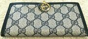 Gg Blue Signature Wallet Checkbook Cover Leather Snap Pouch Gold Vintage