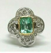 Antique Art Deco 18k White Gold Large Emerald And Diamond Ring 3.32 Tcw Size 8.5