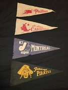 Vintage Mlb Pennants Small Old Cardinals, Phillies, Pirates, Expos Lot Of 4