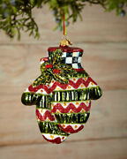 Mackenzie-childs Courtly Check Mittens Christmas Tree Ornament And Free Stand Nib
