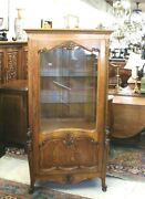 French Antique Tiger Oak Louis Xv Display Cabinet | Living Room Furniture