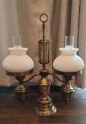 Vintage Double White Ribbed Shade Brass Electric Student Table Lamp
