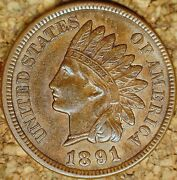 1891 Indian Head Cent - Attractive Lightly Circulated Au+ M129