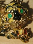18kt/k18 Yellow Gold Tiger Pin/brooch - Emeralds Eyes Made In Italy 22grams