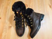 Lanescot Lace Up Faux Fur Womenandrsquos Brown Leather Boots Nwob Size 7