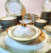 Antique Meito Hand Painted China. 1920and039s Or 30and039s. Made In Japan. 86 Pieces.