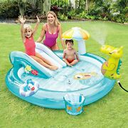 Kids Inflatable Swimming Pool Play Center Water Fun Games With Slide For Outside
