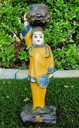 Vintage Chinese Ceramic Candle Holder Statue Women Girl Carrying Water Jar