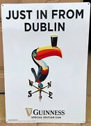 Guinness Beer Just In From Dublin Special Edition Can Tin Sign Metal Tacker Nos