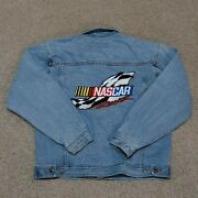 Vintage Jeff Hamilton Nascar Jean Jacket Embroidered Front And Back Hits Size Xl