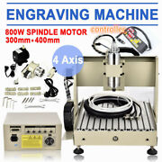 4 Axis Cnc 3040 Router Engraver Wood Pcb Engraving Milling Drill Machine 800w+rc