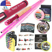 2wt 5wt Womenand039s Elegant Pink Fly Fishing Rod Combo Fly Reel Fly Line Kit