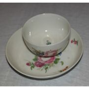 Antique 18th Original Rare Swiss Nyon Saucer And Bowl Repaired Marked