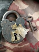 Antique Steel And Brass Lock Padlock And Key 4 X 2andfrac34 Approved Tumbler Lock