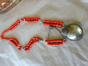 Vintage Silver Plated Snuff Bottle Glass Faux Coral Beads Necklace Turquoise