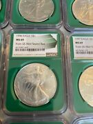 Rare Silver Eagle Complete Set 1986-2016 Ngc Ms69 Green Label Green Holder