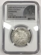 14th Century 1346-1384 Flanders 2 Gros Coin - Louis Ii De Male Ngc Authentic
