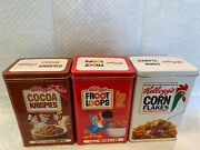 Vintage Collectible 1984 Kellogg's Cereal Advertising Tin Cans 3pc Set