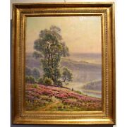 Antique 20th France Original Oil Canvas Painting Heather In Bloom Didier-pouget