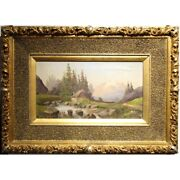 Antique 19th Swiss Original Oil On Canvas Painting Mountain Landscape Signed