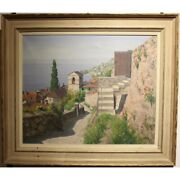 Vintage 20th Swiss Original Oil On Canvas Painting St-saphorin Signed A. Duplain
